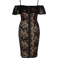 Black and nude lace bardot corset dress