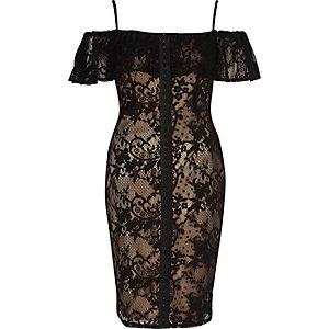 Korsagen-Kleid in Schwarz und Nude