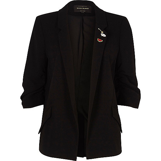 Black pin badge ruched sleeve blazer