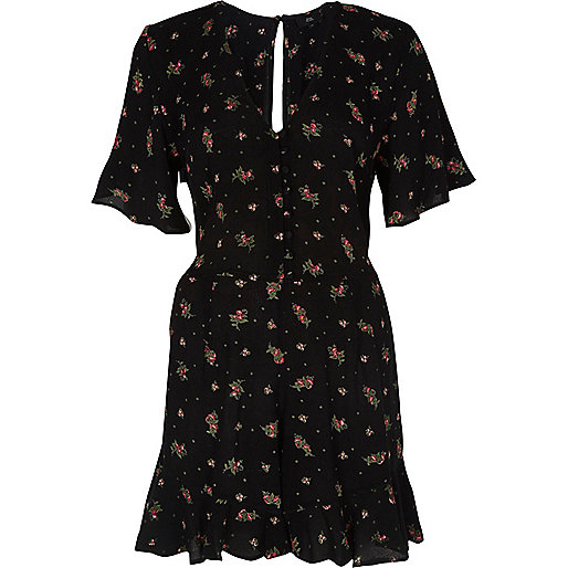 Black ditsy floral frill sleeve romper