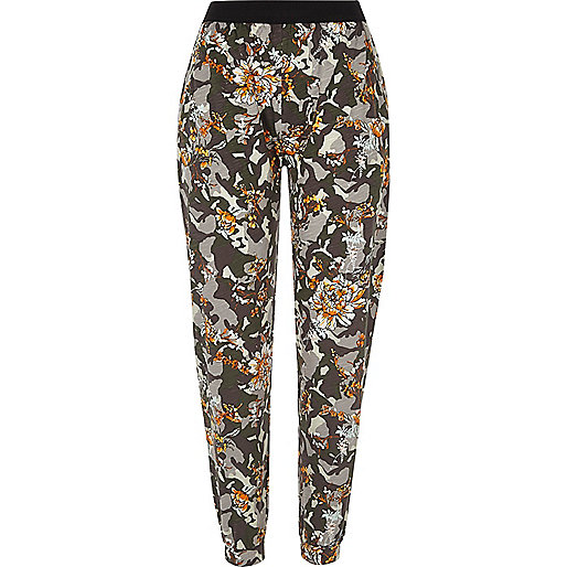 Green camo and floral print jersey joggers