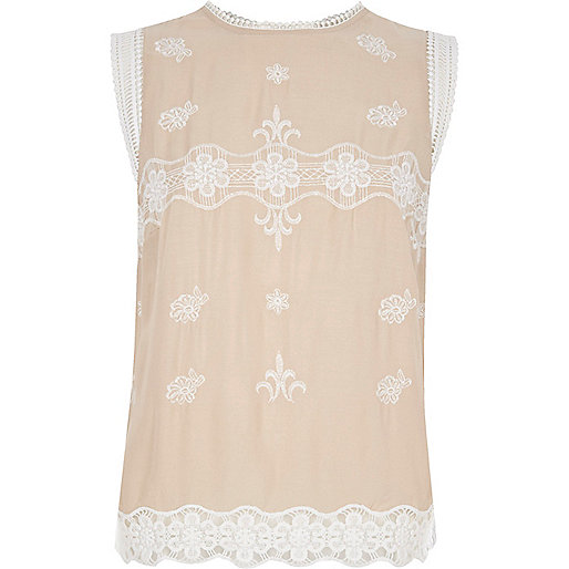 Light pink embroidered sleeveless top