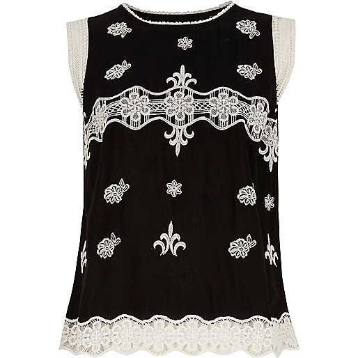 Black embroidered crochet detail top