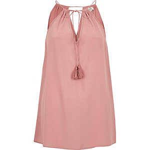 Pink lace side tie neck sleeveless top