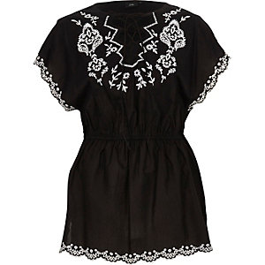 Black tie front embroidered top