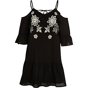 Black embroidered cold shoulder dress