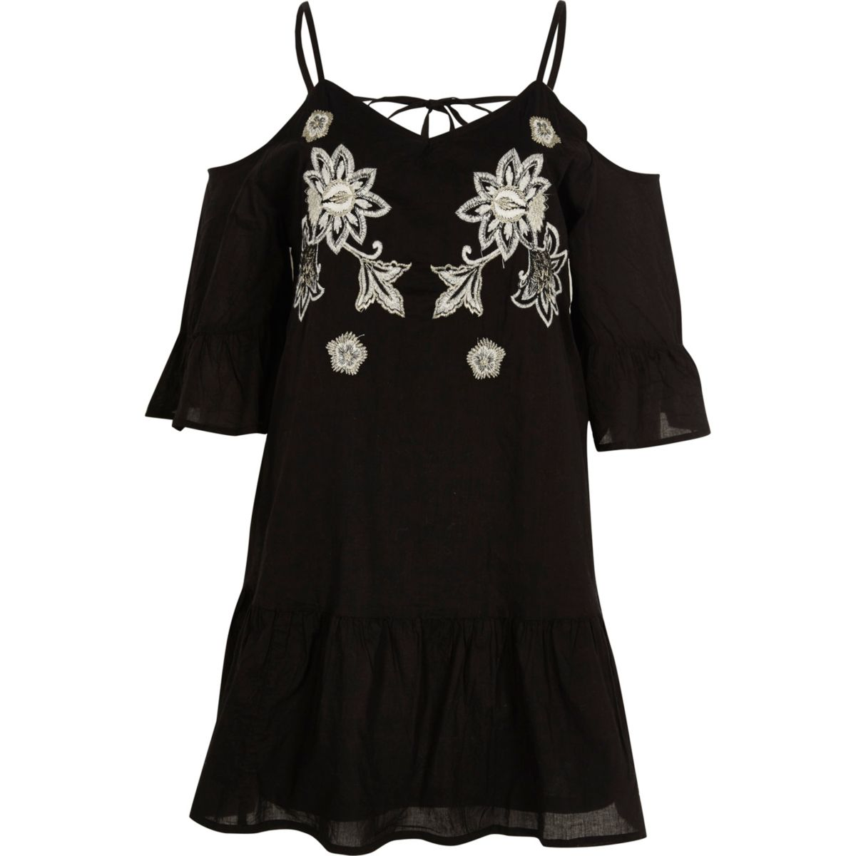Zwarte geborduurde schouderloze jurk