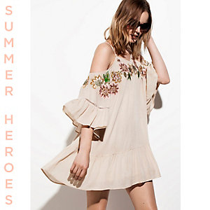 Cream embroidered cold shoulder swing dress