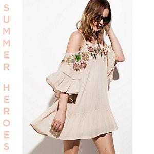 Cream embroidered cold shoulder swing dress