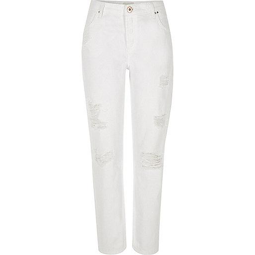 White ripped Ashley boyfriend jeans