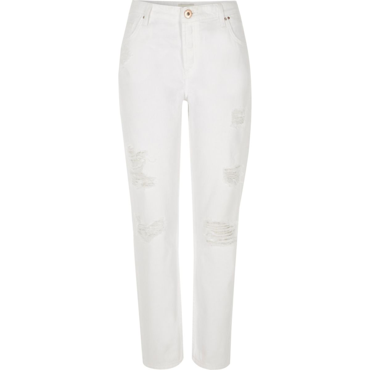 White ripped Ashley boyfriend jeans