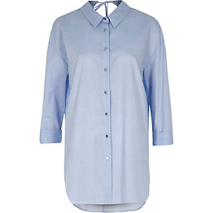 Blue chambray tie back oversized shirt