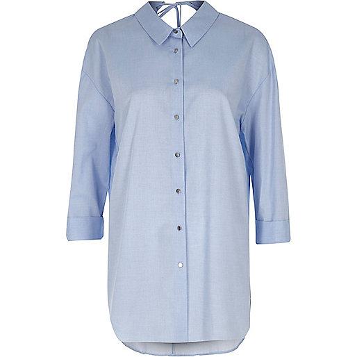 Blue chambray tie back oversized shirt