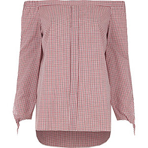 Red gingham check tie sleeve bardot shirt