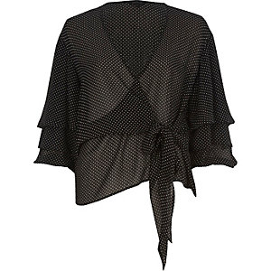 Black spot tie front puff sleeve blouse