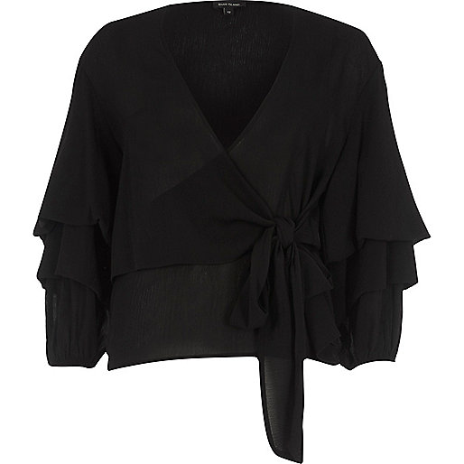 Black puff sleeve tie front wrap top