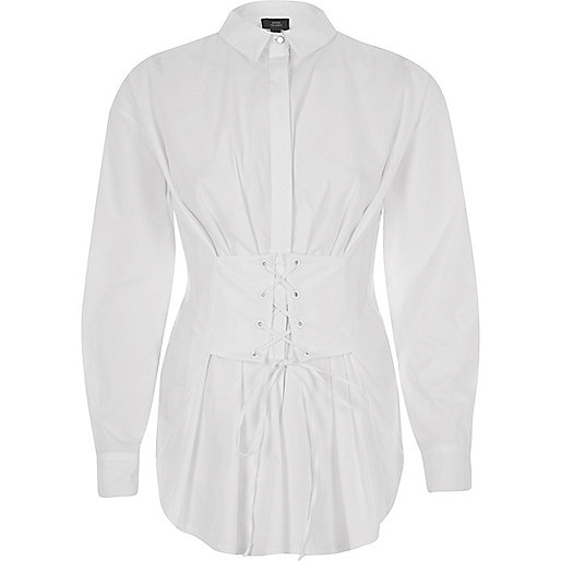 White corset long sleeve oversized shirt