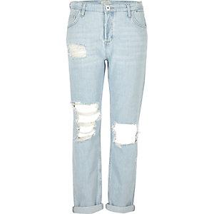 Light blue ripped boyfriend jeans