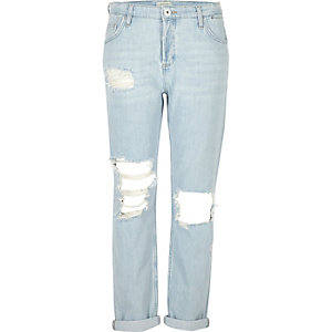 Hellblaue Boyfriend-Jeans im Used-Look