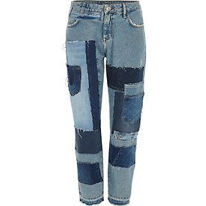 Blauwe patchwork jeans met rechte pijp