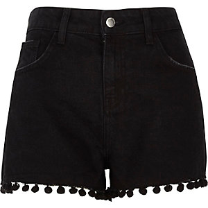 Black wash pom pom high waisted denim shorts