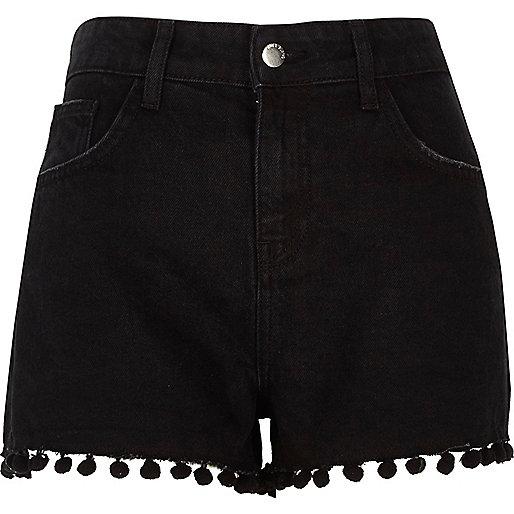Black wash pom pom high waisted denim shorts