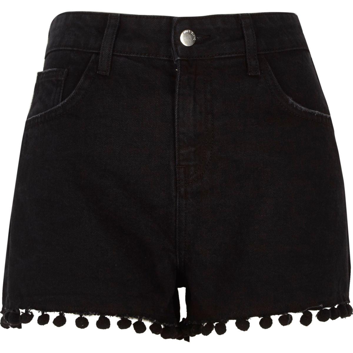 Zwarte wash denim short met hoge taille en pompons
