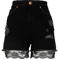 Black lace hem high waisted denim shorts