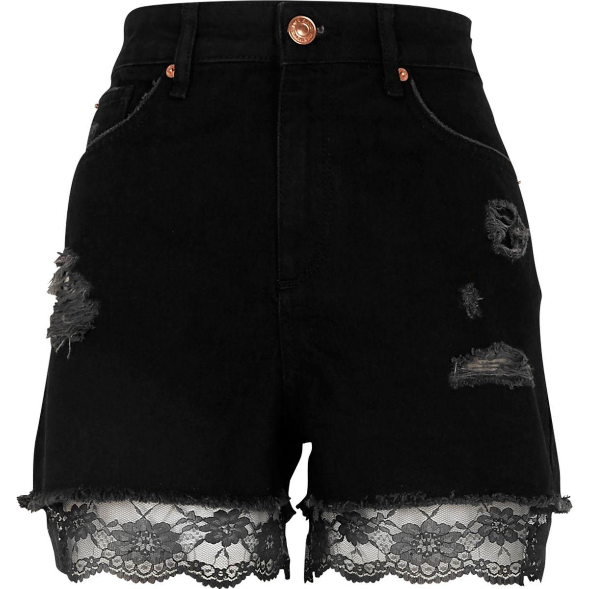 Schwarze hochgeschnittene Jeansshorts mit Spitzenbesatz
