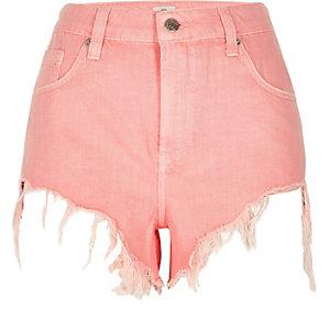 Roze denim short met hoge taille en gerafelde zoom