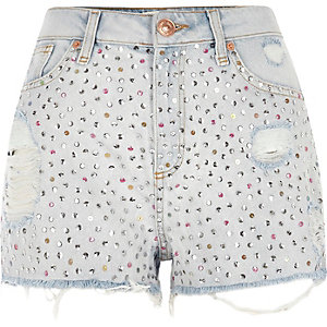 Light blue high waisted sequin denim shorts