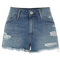 Mid blue distressed denim shorts