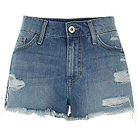 Middenblauwe distressed denim short