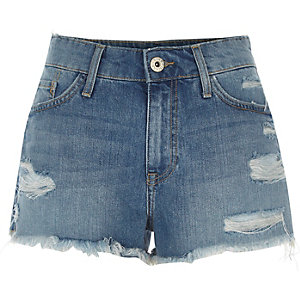 Mid blue distressed denim shorts