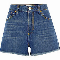 Blue authentic high waisted denim shorts