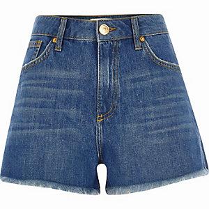 Blauwe authentieke denim short met hoge taille