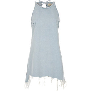 Light blue ripped hem sleeveless denim dress