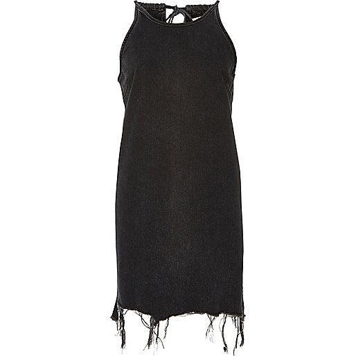 Black ripped hem sleeveless denim dress