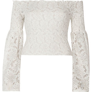 White lace shirred bardot bell sleeve crop to