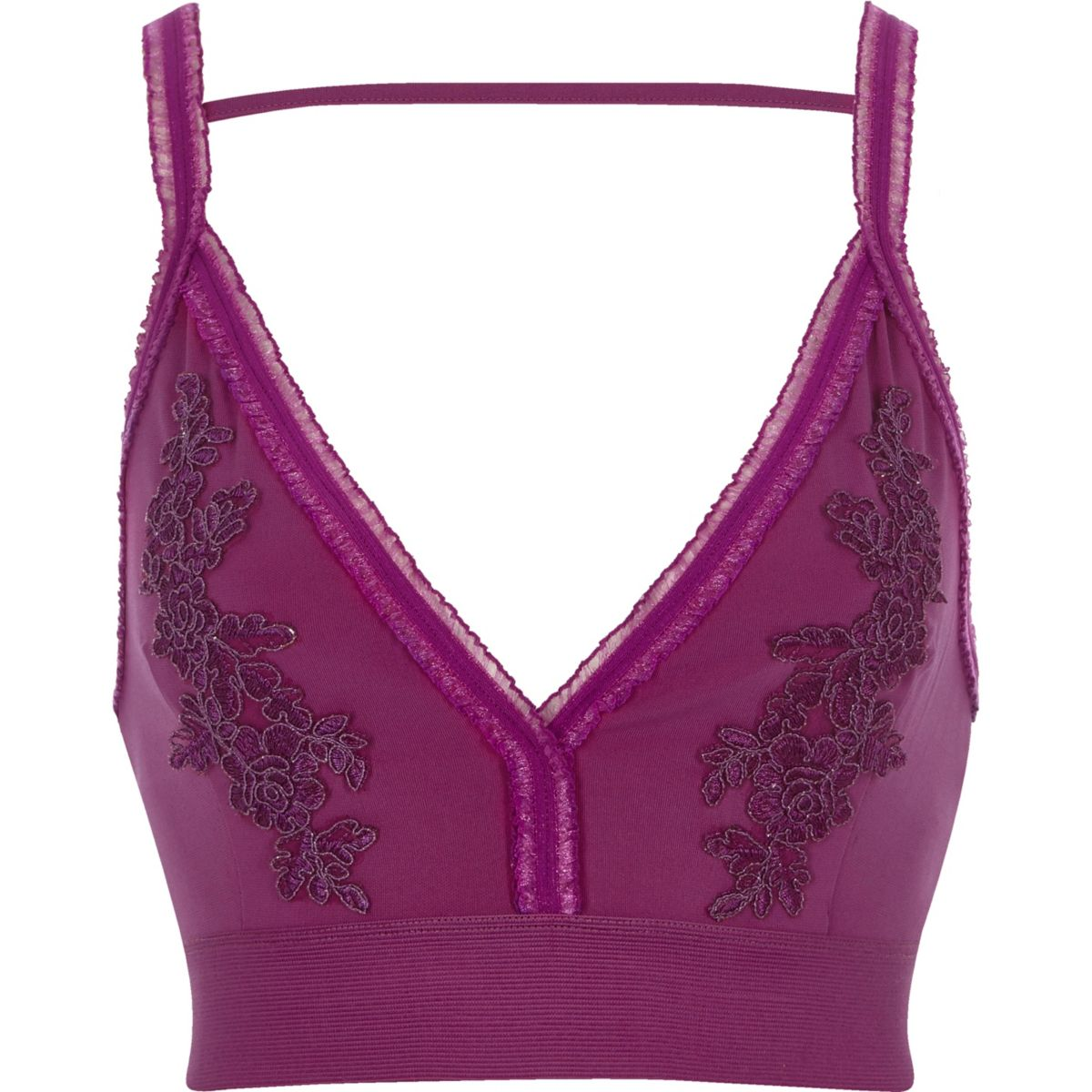 Purple floral embroidered tulle trim bralet