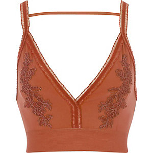 Orange floral embroidered tulle trim bralette