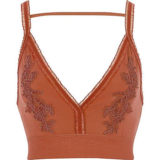 Orange floral embroidered tulle trim bralette