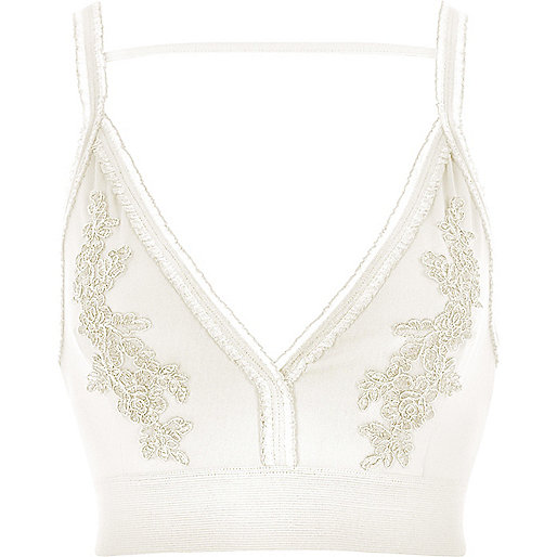 White floral embroidered tulle trim bralette