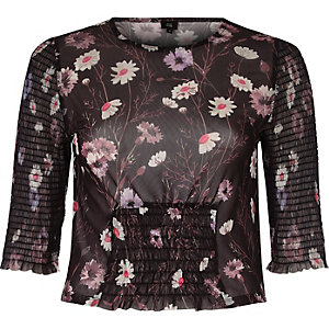 Black mesh floral print shirred crop top