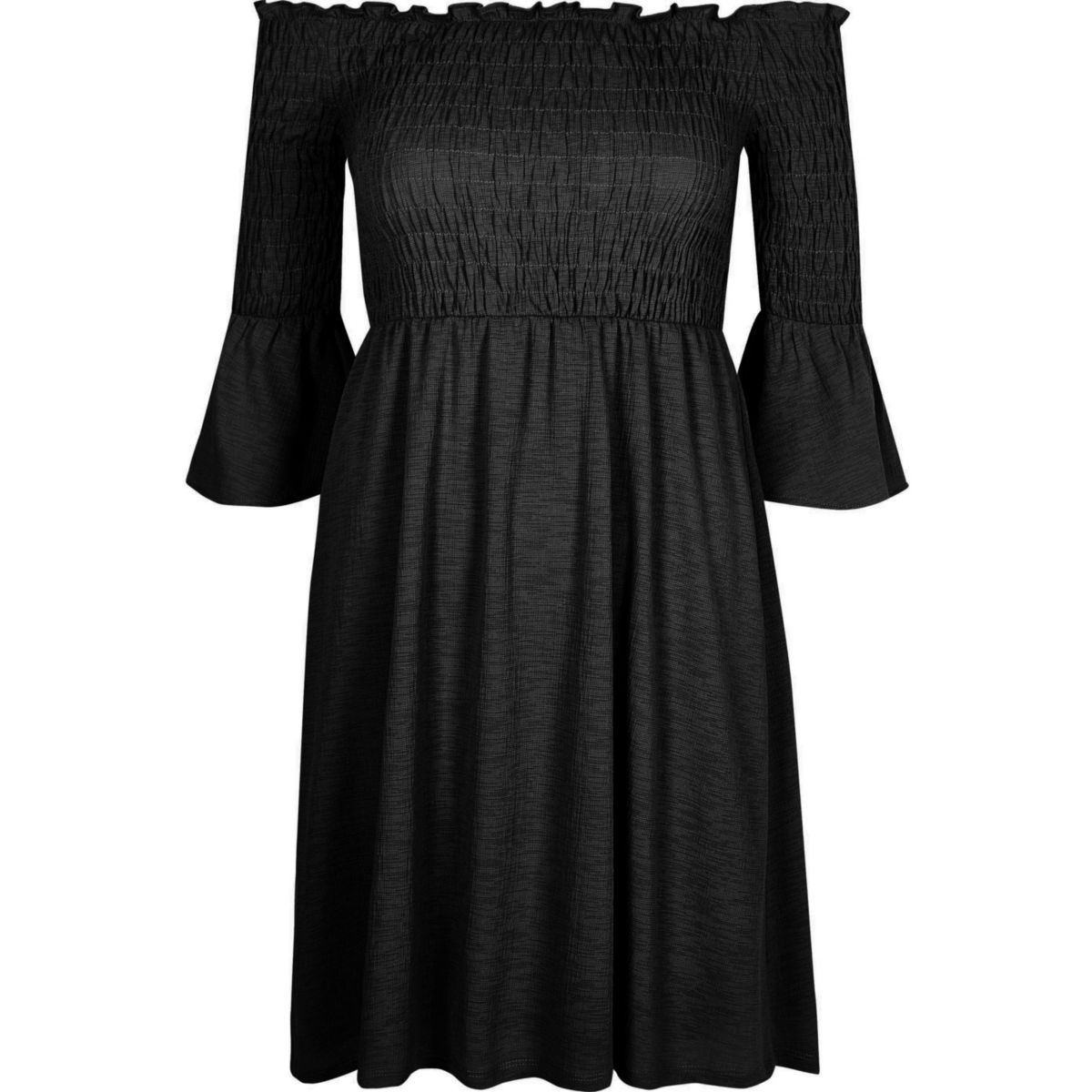 Black shirred bardot dress