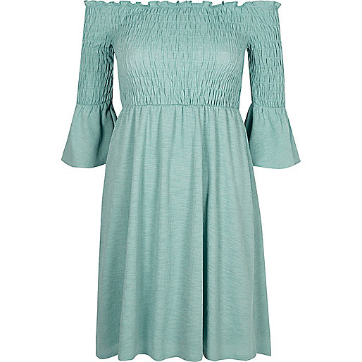 Green shirred bardot dress