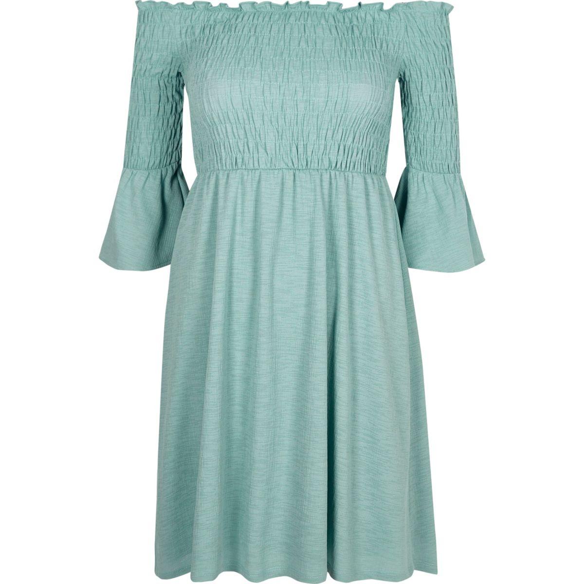 Green shirred bardot dress