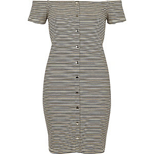 White and black stripe bardot bodycon dress