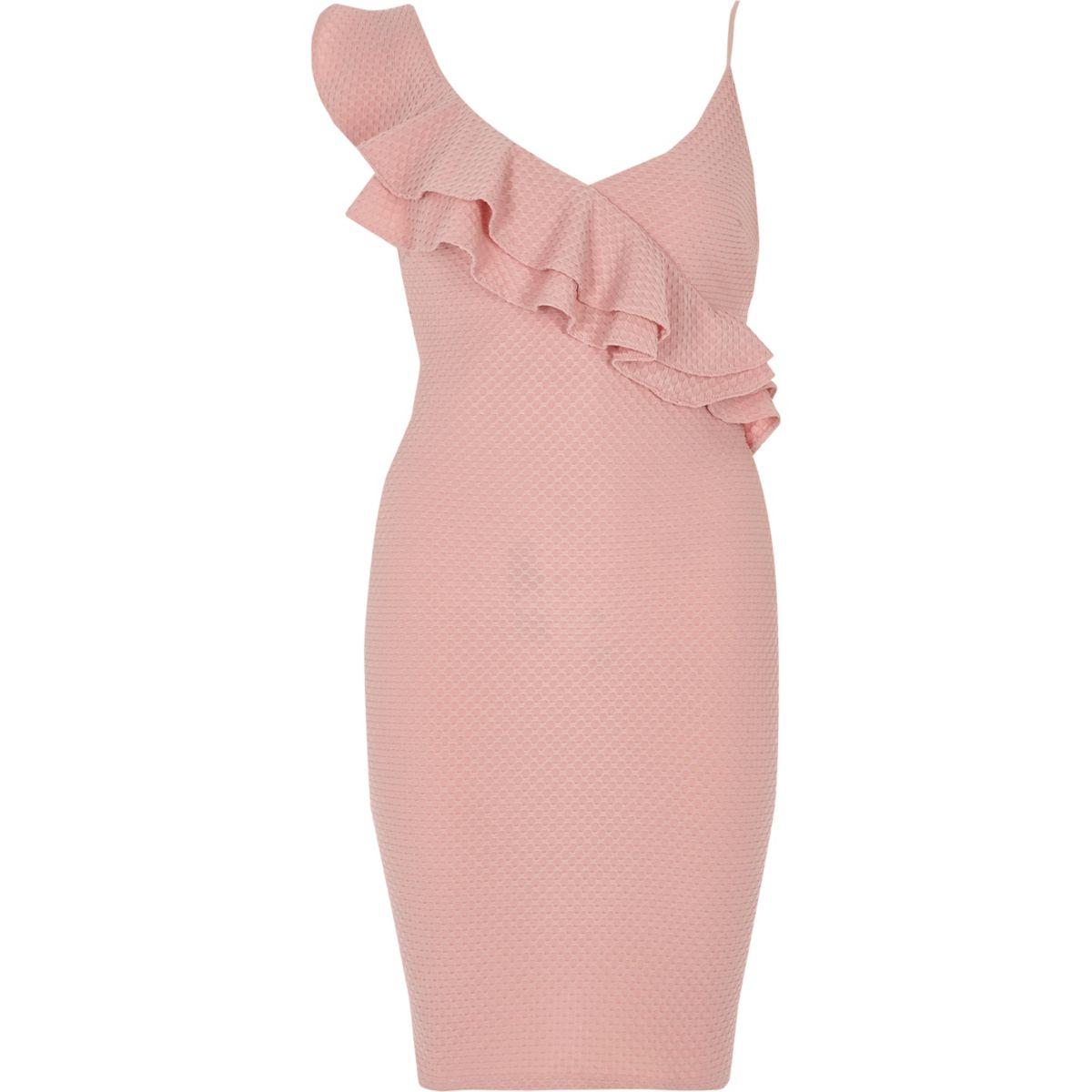 Pink asymmetric frill bodycon dress