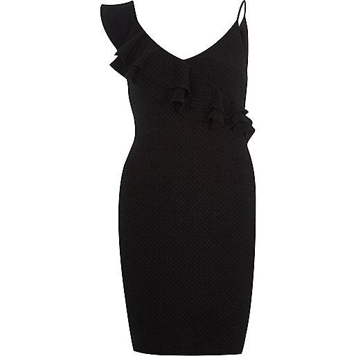 Schwarzes Bodycon-Kleid mit Rüschen und freier Schulter